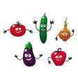 Cucumber pepper onion eggplant and tomato vector