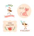 Welcome home decorative elements vector