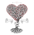 Tree crown like heart with leafs vector