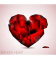 Broken red diamond jewel heart vector