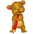 Cute brown bear cartoon holding red pencil vector