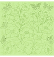 Flowers and butterflies green background vector