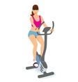 Young woman with brown hair uses a bicycle for a vector