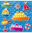Set of sea transport stickers vector