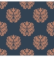 Brown colored on indigo floral seamless pattern vector