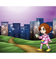 A young girl walking across the tall buildings vector