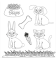 Set of drawings of domestic pets and accessories f vector