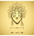Totem with wolf and feathers vector