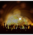 Sparkling disco ball and crowd vector