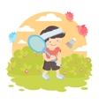 Boy playing badminton vector