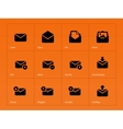 Mail icons on orange background vector