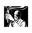 Crazy mad scientist test tube vector