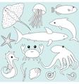 Sea animals set vector