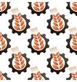 Wheat or barley inside a gear seamless pattern vector