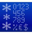 Winter white english alphabet with snowflakes vector