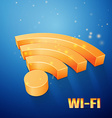 Orange wi-fi symbol on blue background vector