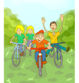 Children ride bike vector