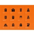 Gift icons on orange background vector