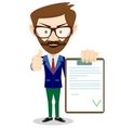 Hipster man holding a paper with green flags vector