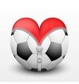Red heart inside soccer ball vector