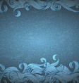 Blue background with hand drawn waves vector