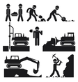 Collection of black construction earthworks icons vector