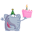 Happy birthday elephant in a party hat vector