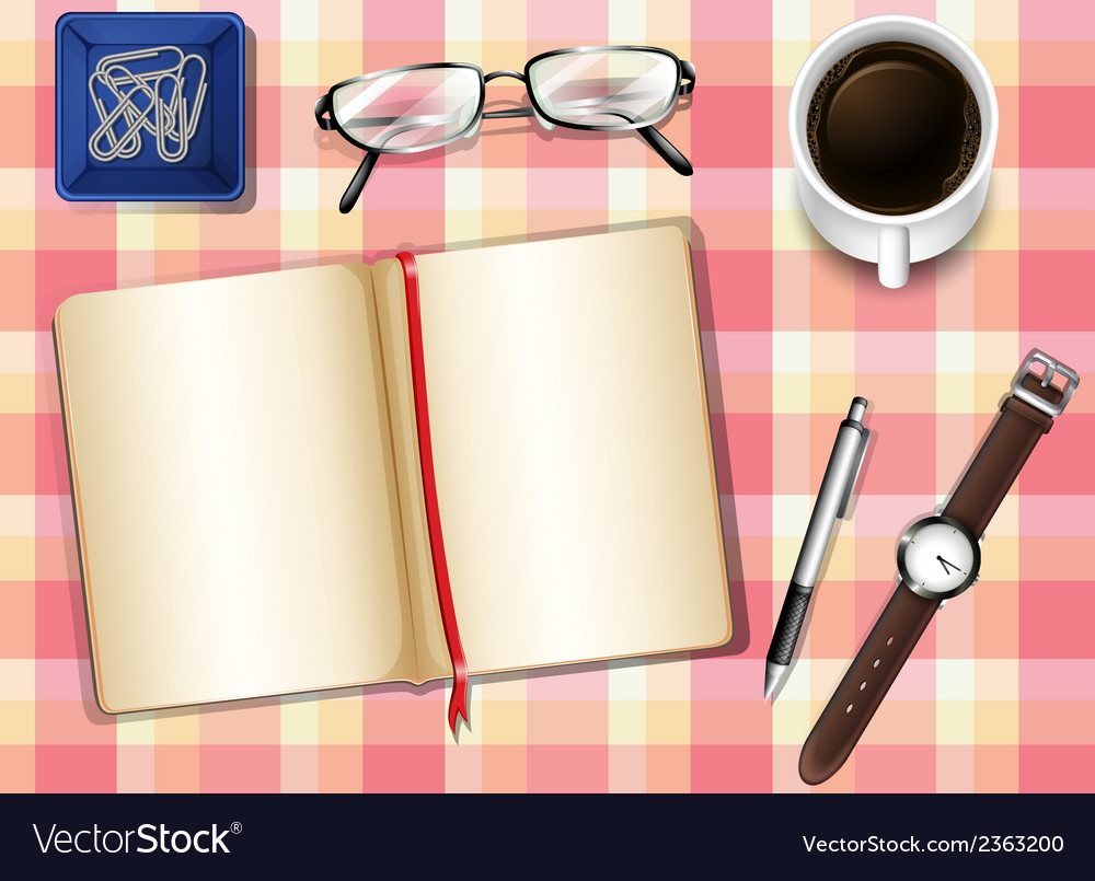 A topview of a table with things vector | Price: 1 Credit (USD $1)