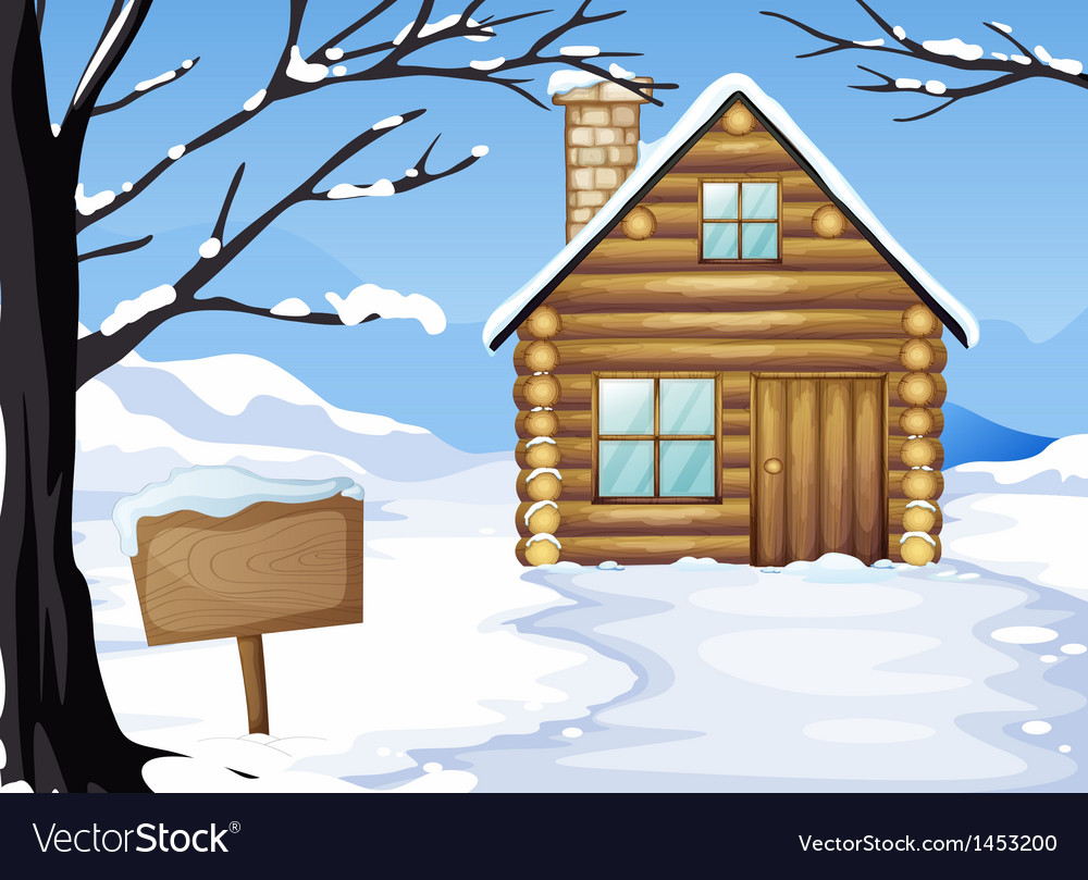 A wooden house near the empty signboard vector | Price: 1 Credit (USD $1)