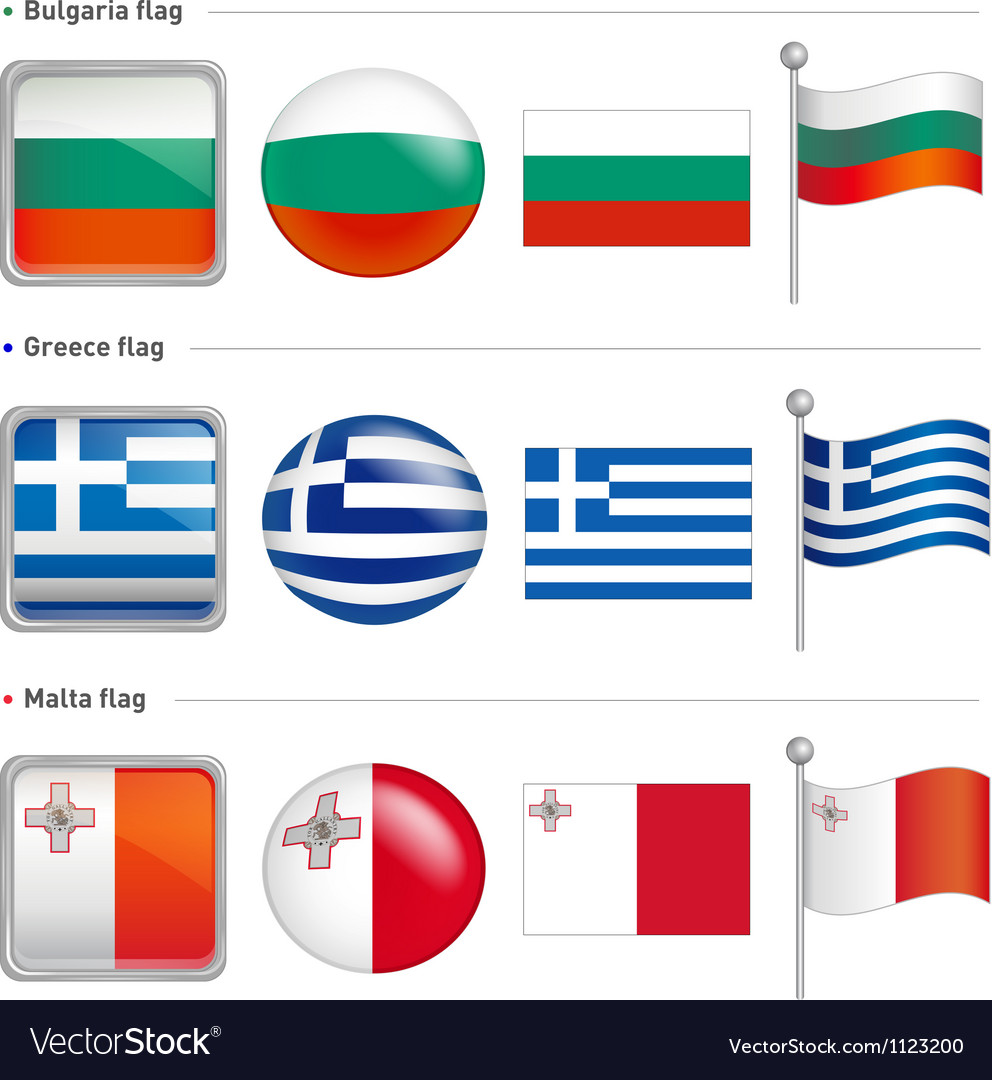 Bulgaria and greece malta flag icon vector | Price: 1 Credit (USD $1)