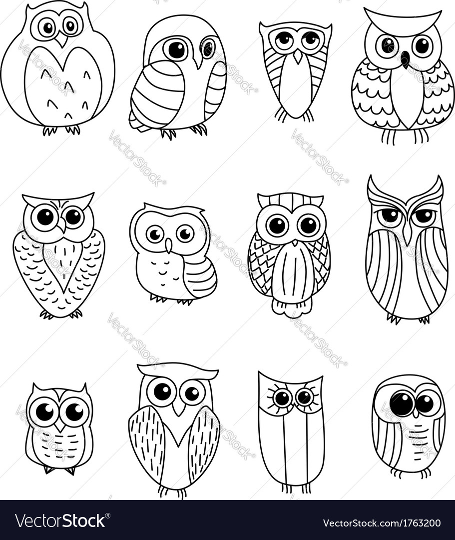 Cartoon owls and owlets vector | Price: 1 Credit (USD $1)