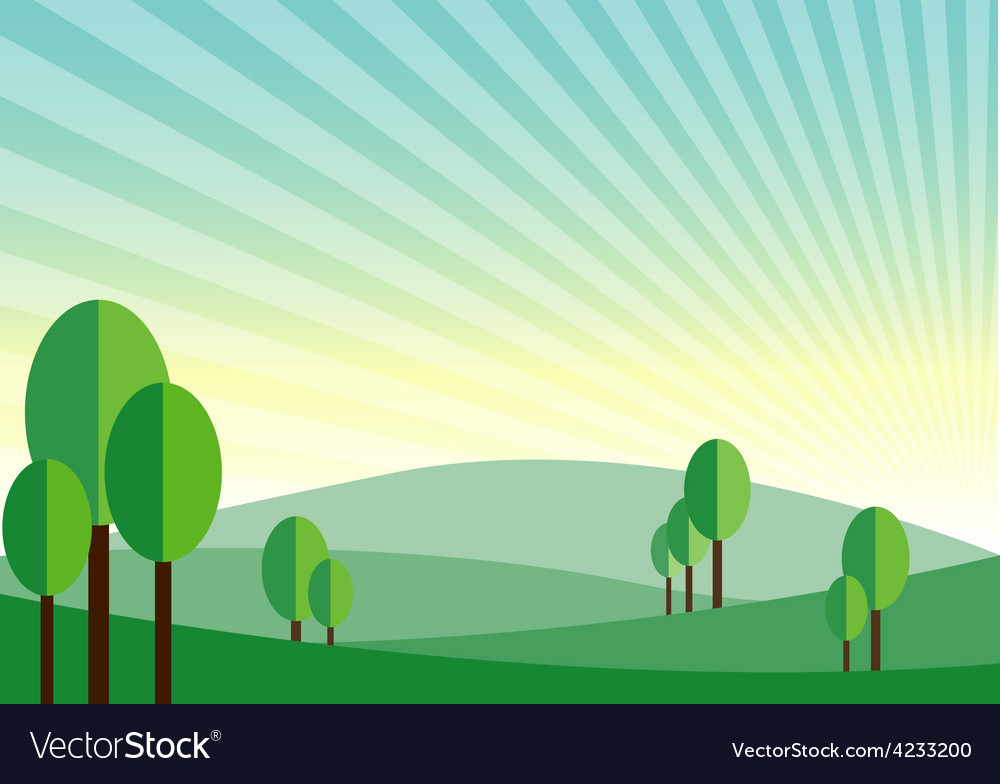 Green land mountain sunshine background vector | Price: 1 Credit (USD $1)