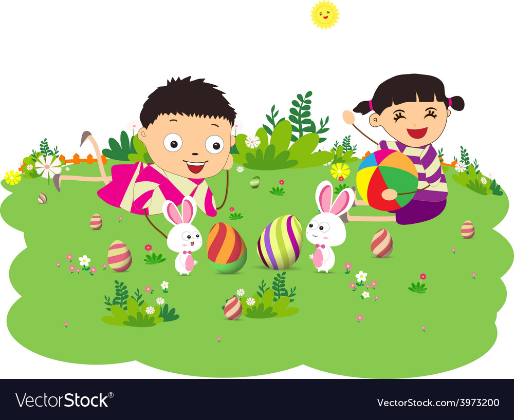 Happy easter eggs with kids and bunny funny vector | Price: 1 Credit (USD $1)