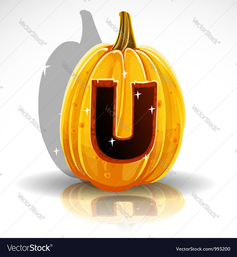 Happy halloween font cut out pumpkin letter u vector | Price: 1 Credit (USD $1)