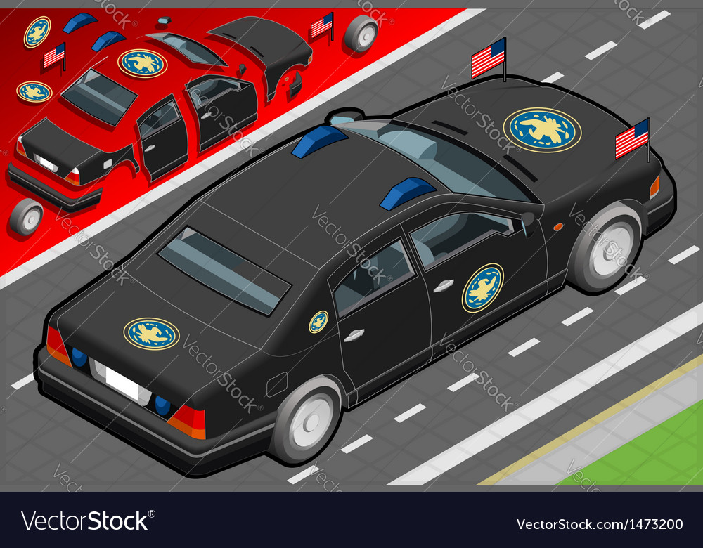 Isometric presidential limousine in rear view vector | Price: 1 Credit (USD $1)