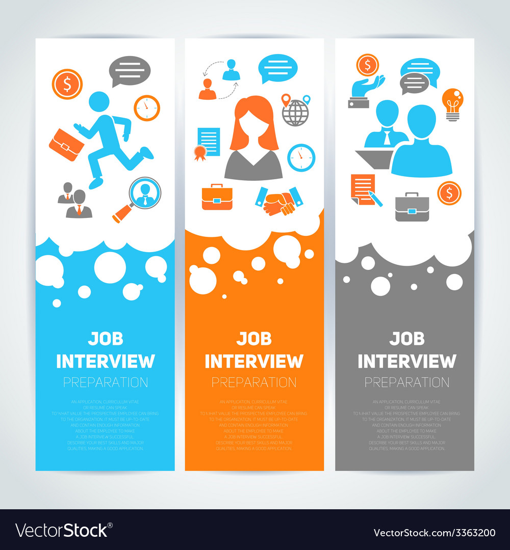 Job interview flat banner set vector | Price: 1 Credit (USD $1)