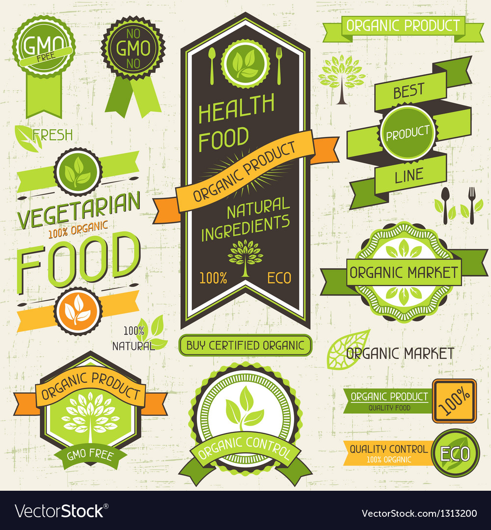 Organic food banners set of labels and stickers vector | Price: 3 Credit (USD $3)