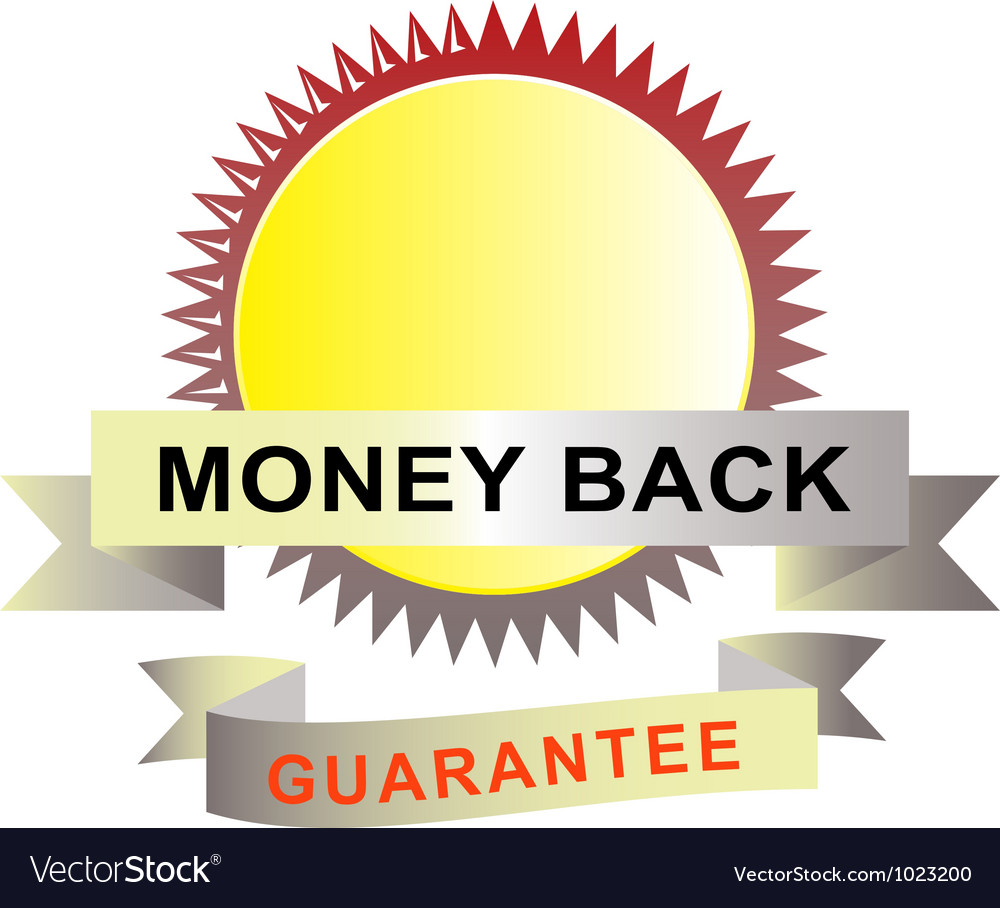 Seal with scroll money back guarantee vector | Price: 1 Credit (USD $1)