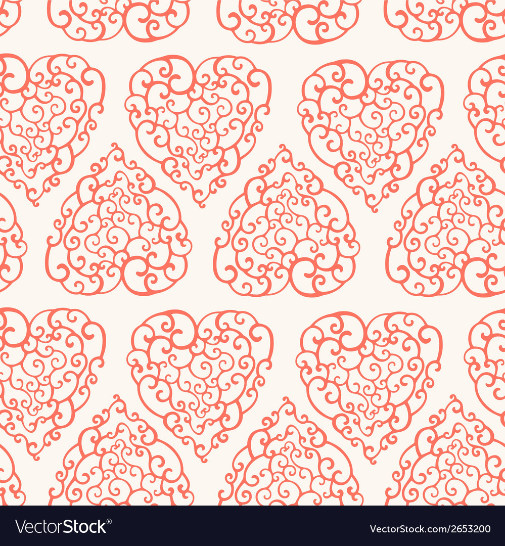 Seamless pattern with hand drawn doodle hearts vector | Price: 1 Credit (USD $1)