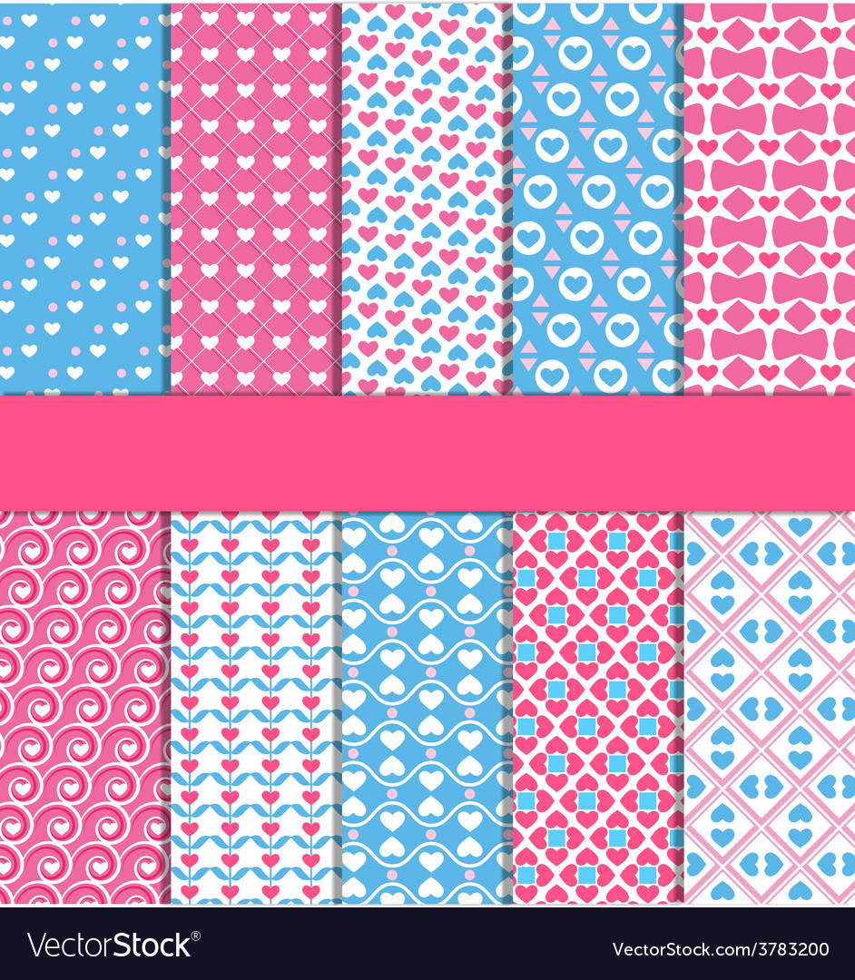 Set of 10 seamless love patterns vector | Price: 1 Credit (USD $1)