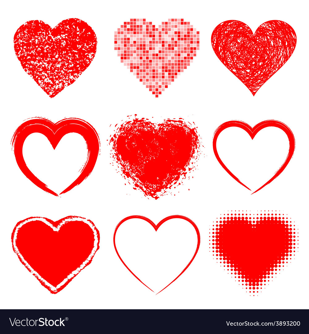 Set of hand drawn grunge hearts vector | Price: 1 Credit (USD $1)