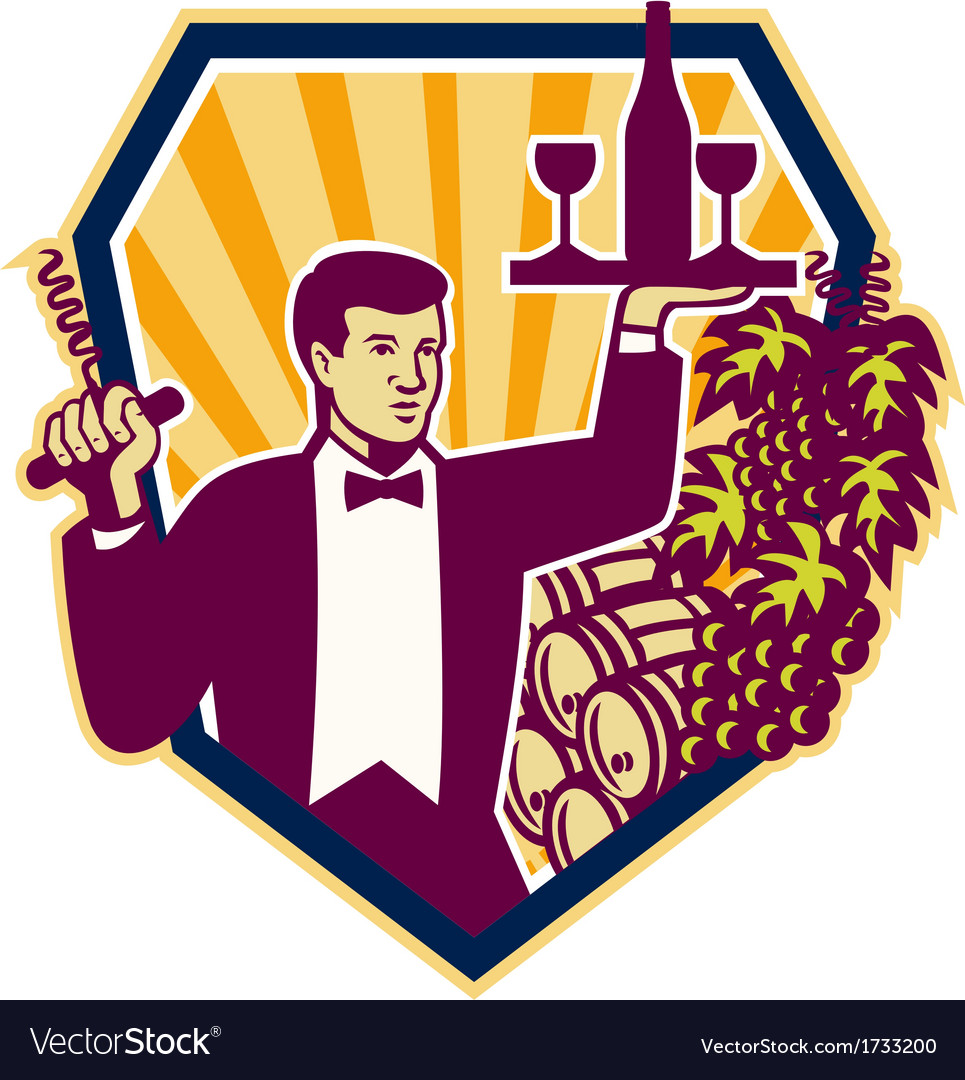 Waiter serve wine glass bottle shield retro vector | Price: 1 Credit (USD $1)
