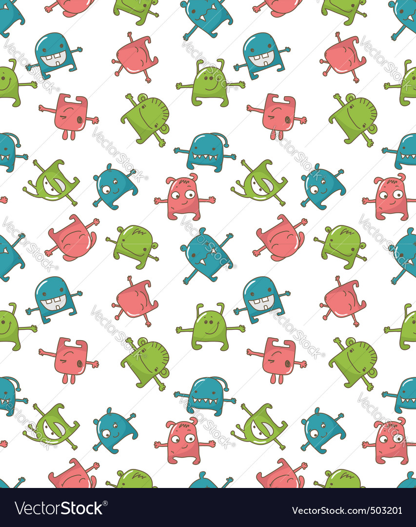 Cute monsters pattern vector | Price: 1 Credit (USD $1)