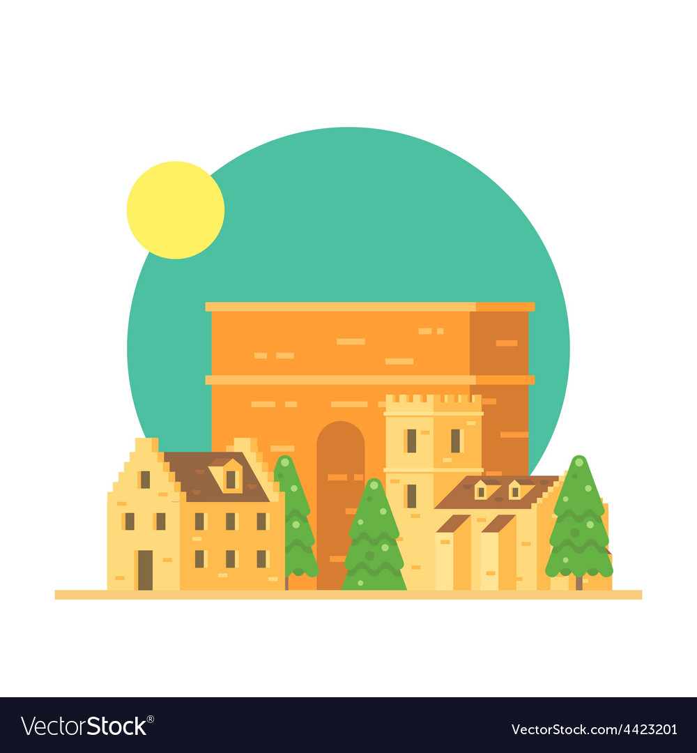 Flat design of trajans arch italy with village vector | Price: 3 Credit (USD $3)