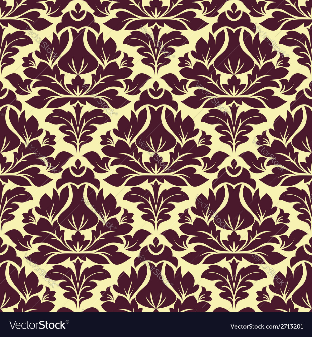 Floral seamless beige and purple damask pattern vector | Price: 1 Credit (USD $1)