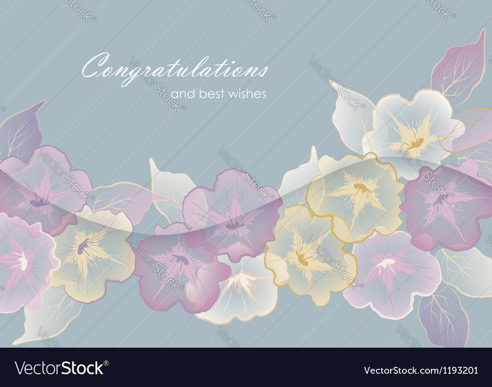 Floral template greeting card with pastel flowers vector | Price: 1 Credit (USD $1)