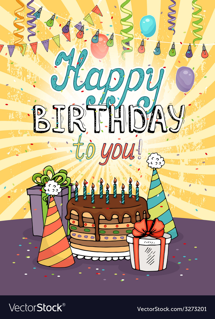Happy birthday greeting card or invitation vector | Price: 1 Credit (USD $1)