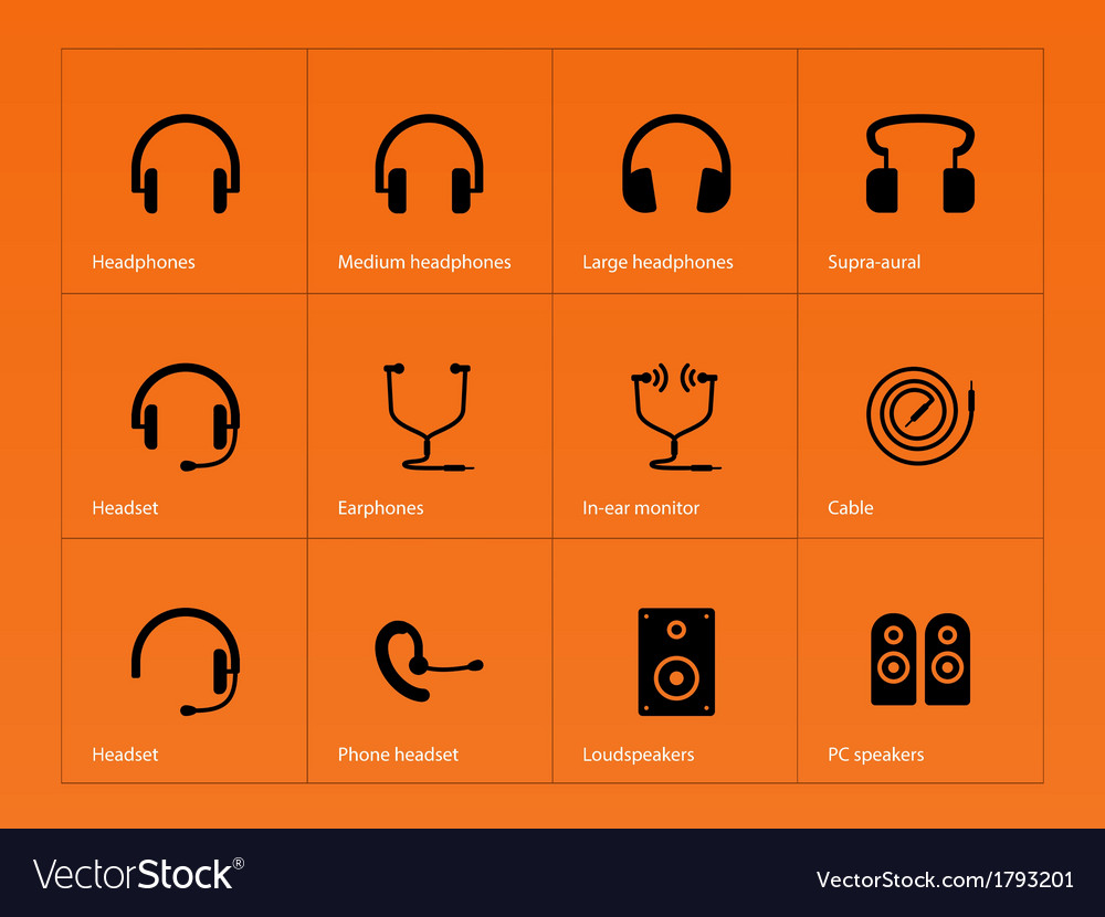 Headphones icons on orange background vector | Price: 1 Credit (USD $1)