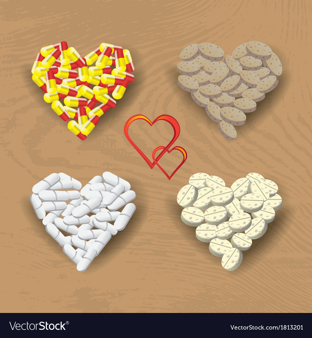 Hearts from pills vector | Price: 1 Credit (USD $1)