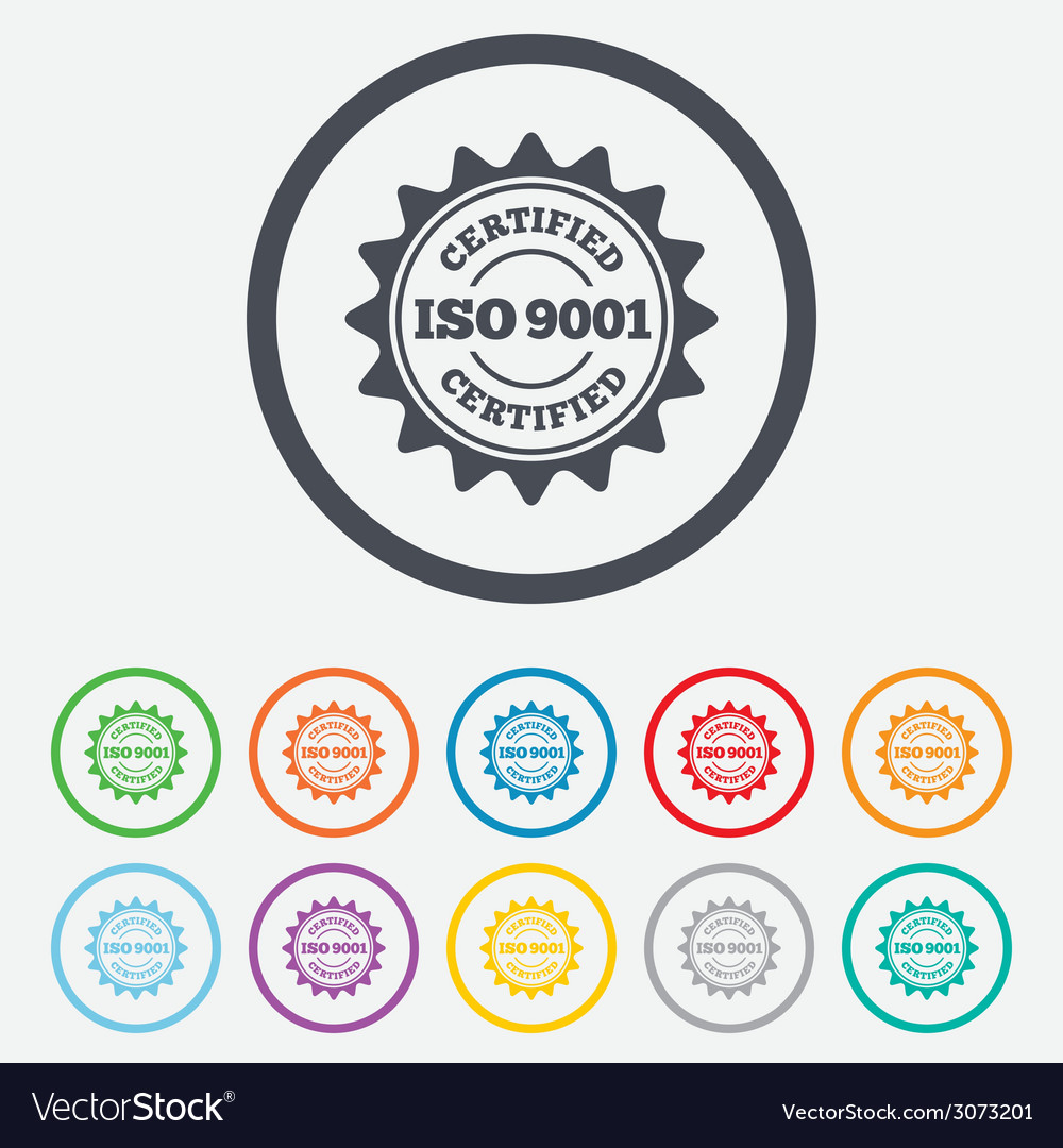 Iso 9001 certified sign certification stamp vector   Price: 1 Credit (USD $1)